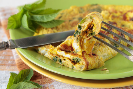 an omelette: Omelette with goutweed on a green plate Stock Photo