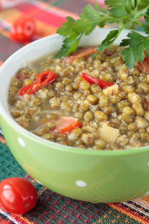 Mung bean soup with peppers and tomatoes in a bowl photo
