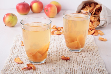 compote: Two glasses with a compote of dried apple slices