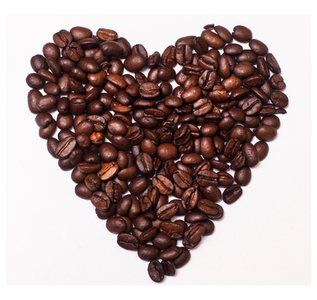 photo of heart made of Coffee Beans on white background Stok Fotoğraf