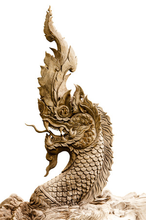 King of Nagas statue isolated on white photo