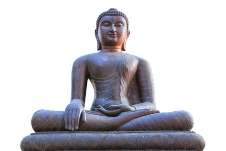 Image of Buddha statue isolated on white photo