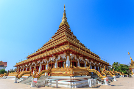 storey: Khonkaen, Thailand - 19 Feb 2017- Phra Mahathat Kaen Nakorn or the 9-storey Stupa is located in Wat Nong Waeng, a royal temple, Khonkaen, Thailand