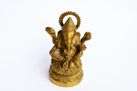 potbelly: an elephant-headed deity, son of Shiva and Parvati. Worshiped as the remover of obstacles and patron of learning, he is usually depicted colored red, with a potbelly and one broken tusk, riding a rat.
