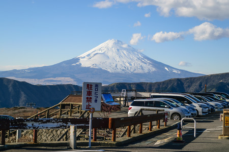 mountain peek: On a clear day in the winter near Mount Fuji in Japan.