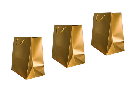 paperbag: Beautiful and colorful golden paper bag.