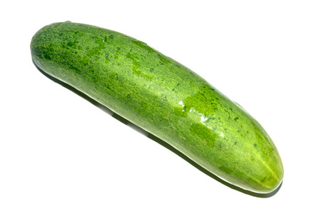 watery: A long, green-skinned fruit with watery flesh, usually eaten raw in salads or pickled. Stock Photo