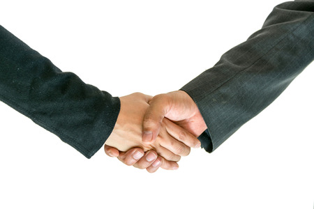 introduction: Business men and women shaking hands with each other to work together. Stock Photo