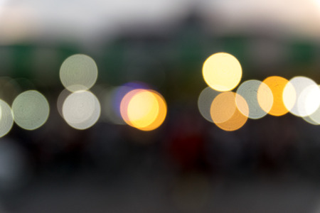 defocussed: Blurred bokeh lights background on the road.