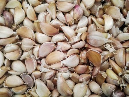 garlics: Group of garlics in the supermarket. Stock Photo
