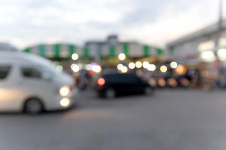 defocussed: Blured bokeh lights background on the road.