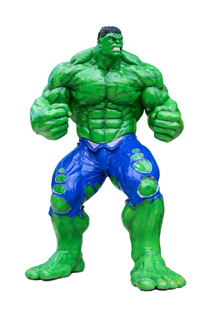 Bangkok,Thailand-September 19,2015:Marvel super hero Hulk giant model isolated on white background.