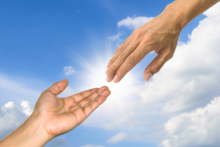 The symbol used to show each other a helping hand. Stock Photo