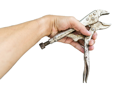 locking: Locking Pliers in hand isolated on white background. Stock Photo
