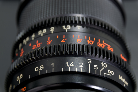 and aperture: The numbers tell the lens on the camera, such as focal length and aperture. Stock Photo