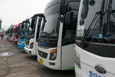 coachwork: Gangwon-do,Korea-January 2,2016: Buses bring tourists to the Naminara republic island.