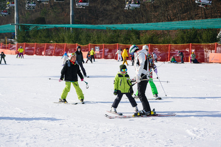 Gangwon-do,Korea-January 4,2016: Daemyung Vivaldi Park ski resorts, attractions, famous and popular in Korea. Editöryel