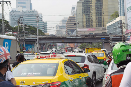 traffic jams: Bangkok,Thailand-February 2,2016 :Traffic jams at rush hour in the center of business capital of Thailand.