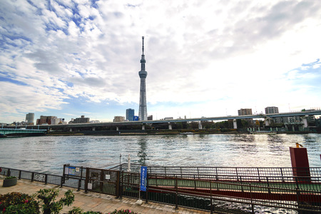 ble: Tokyo,Japan-December 25,2014:View Tokyo sky tree in day time with ble sky.