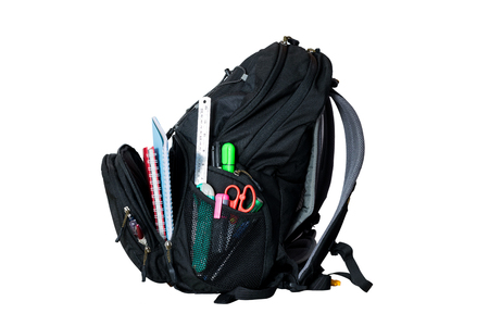 necessities: Backpack for the necessities of travel and tourism isolated on white background. Stock Photo