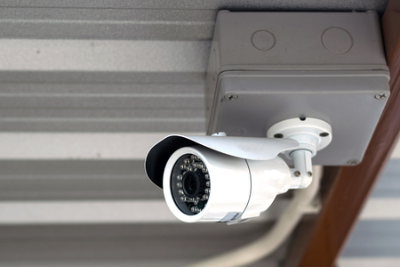 close circuit camera: CCTV recording important events and a guard house and property. Stock Photo