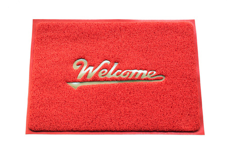 welcome symbol: Welcome door capet isolated on white background.