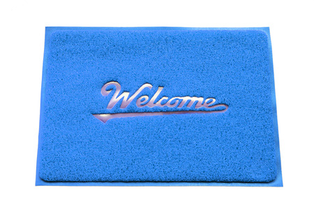 welcome mat: Welcome door capet isolated on white background.