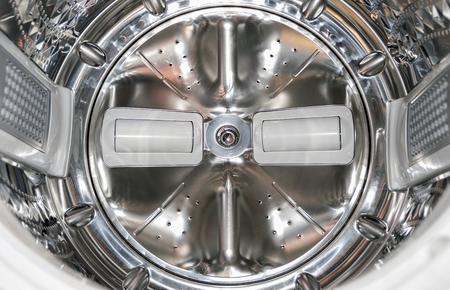 frash: Closeup of inside the washing machine. Stock Photo