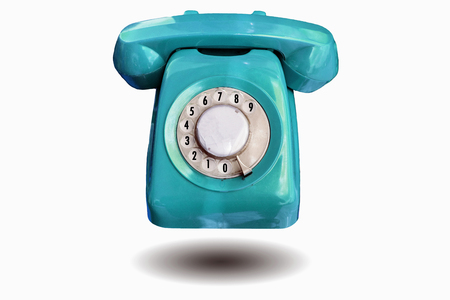 telefono antico: Beautiful vintage red color Antique Telephone isolated on white background.