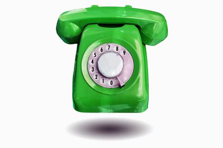 telefono antico: Bel colore rosso annata telefono antico isolato su sfondo bianco.