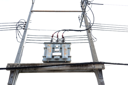 outage power: High voltage transformers on utility poles.