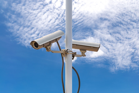 guard house: CCTV recording important events and a guard house and property. Stock Photo
