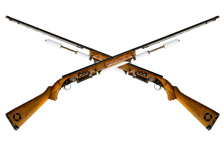 vintage riffle: Airsoft rifle made of wood isolated on white background.