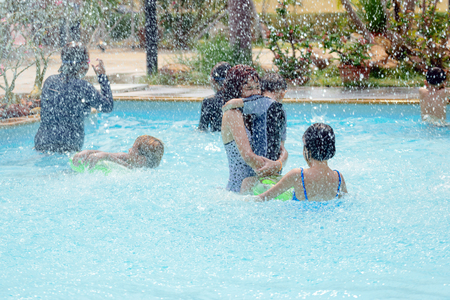 hottest: Bangkok-Thailand,April 11,2016:The kids swim in the pool fun in April recitative hottest month of Thailand.