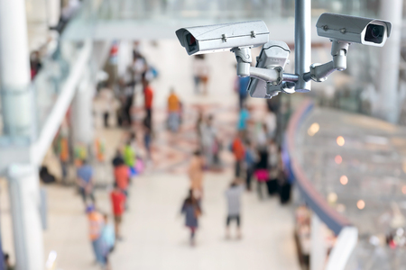 CCTV or surveillance camera recording inside the airport terminal to the various internal security. Stock Photo
