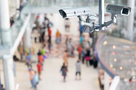 close circuit camera: CCTV or surveillance camera recording inside the airport terminal to the various internal security. Stock Photo