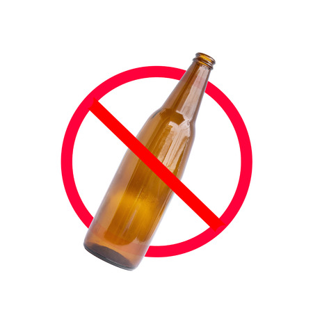 slash: The red circle with slash on the glass bottle of alcohol on white background; concept for stop drinking.