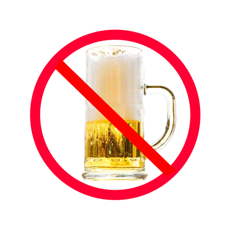 slash: The red circle with slash on glass of beer isolated on white background ; Concept for do not drink alcohol. Stock Photo