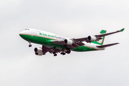 Bangkok,Thailand-Jul 24,2016:Closeup  transport aircraft of the airline Eva Air Cargo in the sky before landing at the Suvarnabhumi airport. Editorial