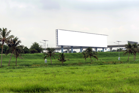 Closeup of the empty big billboards for rent along the flyovers.