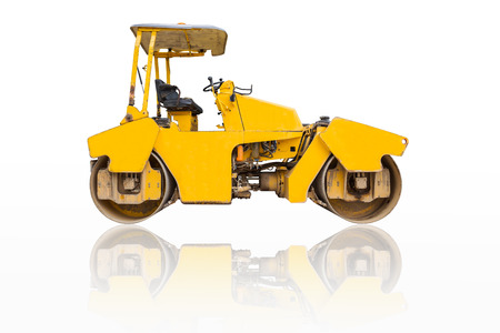 steamroller: Steamroller a modern road roller with yellow color isolated on white background. Stock Photo