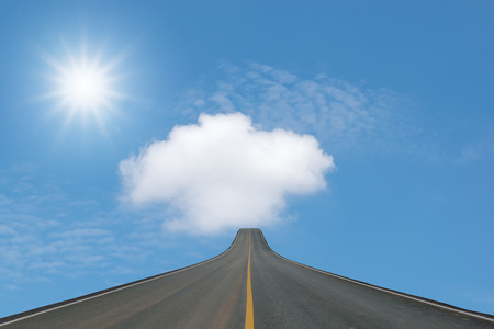 blacktop: Lane blacktop isolated on blue sky with sunlight background.