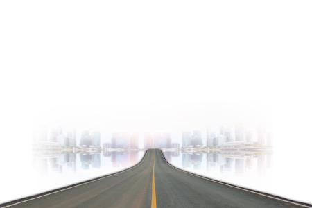 blacktop: Lane blacktop isolated on blurred of the skyscrapers background. Stock Photo