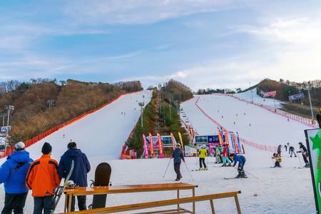 koreans: Soul,Korea-Jan 4,2016: Skier both Koreans and foreigners to come skiing at Vivaldi Park Ski Resort on vacation in the winter every year.