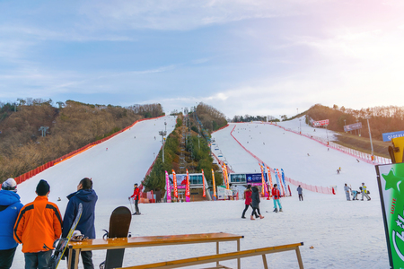 foreigners: Soul,Korea-Jan 4,2016: Skier both Koreans and foreigners to come skiing at Vivaldi Park Ski Resort on vacation in the winter every year.