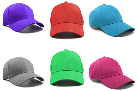 Group of the colorful fashion caps isolated on white background. Stock Photo