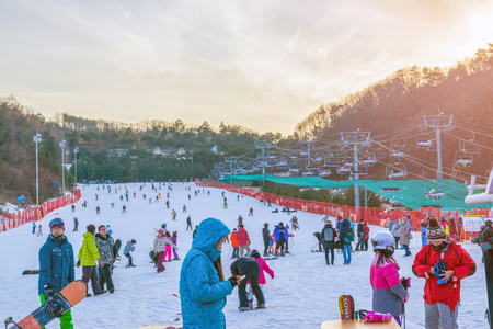 Soul,Korea-Jan 4,2016: Skier both Koreans and foreigners to come skiing at Vivaldi Park Ski Resort is the Ski area, the hotel and the famous resort of Korea on vacation in the winter every year. Editorial