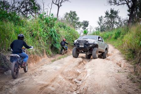 Ratchaburi,Thailand -Dec 5,2016:Toyota Vigo pickup four-wheel drive was down the mountain.