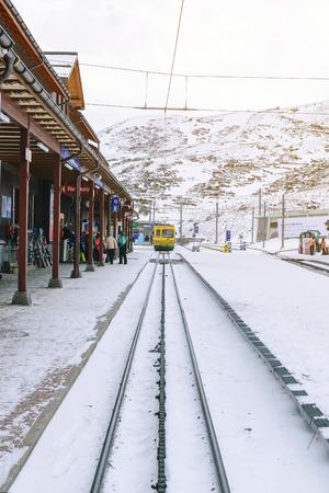 Jungfrau,Switzerland-Jan 4,2017: Scenic railway to Kleins Scheidegg mountain pass, a famous ski resort area, to admire the passing scenic valleys and the Glacier Falls.