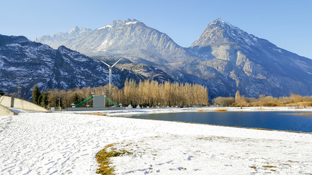 Landscape of nature, mountain and snow of winter in Switzerland. Stock Photo
